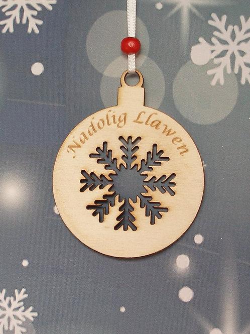 Nadolig Llawen snowflake bauble
