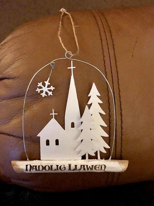 Nadolig Llawen White Christmas Chapel stick
