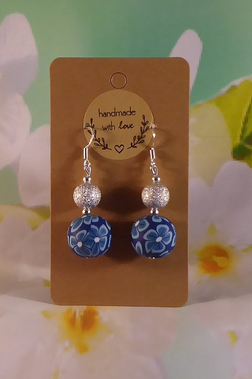 Blue polymer clay & stardust beads