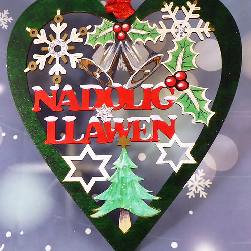 Nadolig Llawen or Merry Christmas large heart
