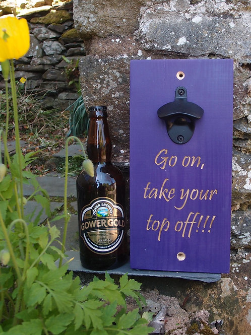 Beer Bottle Opener Purple Engraved