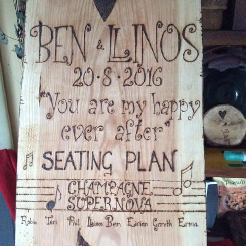 Engraved wooded seating plan