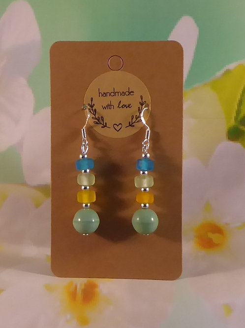 Turquoise, yellow and blue