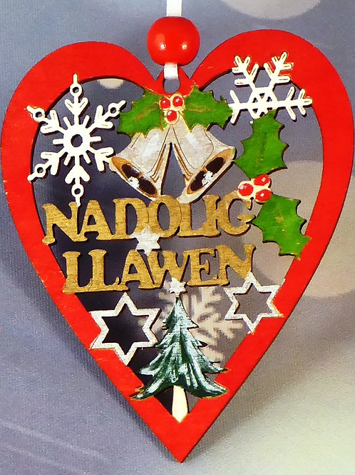 Nadolig Llawen or Merry Christmas small Heart