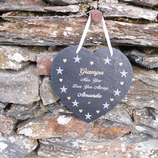 Slate heart memorial plaque