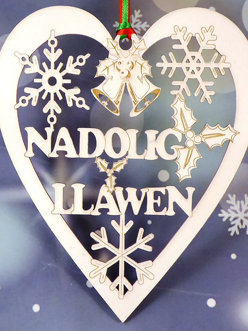 Nadolig Llawen or Merry Christmas Medium heart