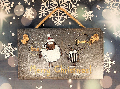 Slate Plaque - Baa Humbug - Merry Christmas