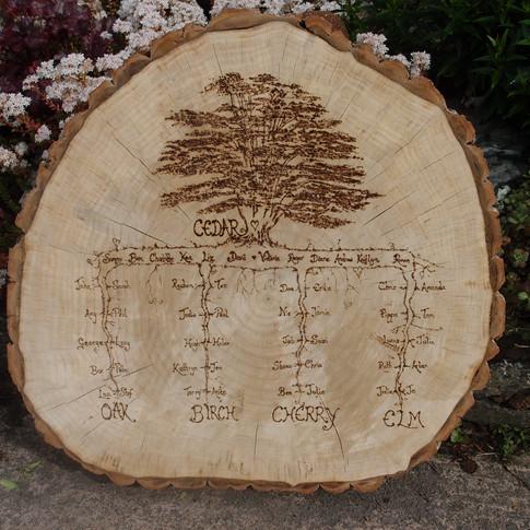Bespoke tree slice seating plan