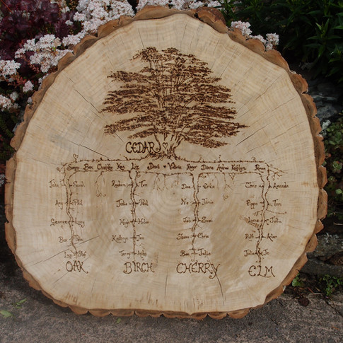 Bespoke tree slice seating plan