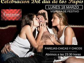 LUNES 18 (Víspera de Festivo)- CELEBRACIÓN DEL DÍA DE LOS PAPIS. Parejas-chicas y chicos solos.