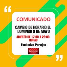 CAMBIO DE HORARIO DOMINGO 9 DE MAYO