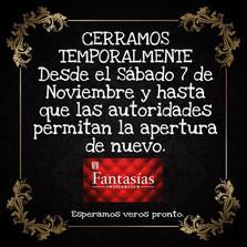 07/11/20 - CERRAMOS TEMPORALMENTE