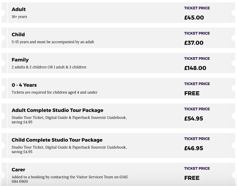 Ticket Prices for Harry Potter Tour London