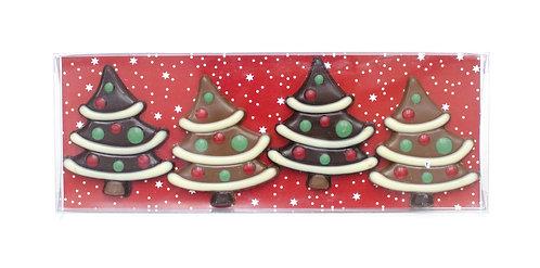 Belgian Chocolate Christmas Trees - 4 pcs in gift box