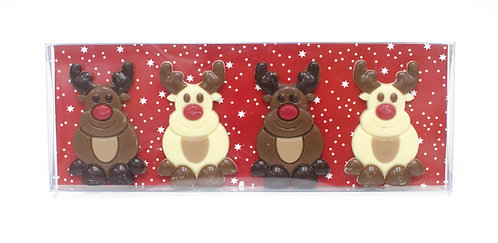Belgian Chocolate Rudolph Reindeer - 4 pcs in gift box