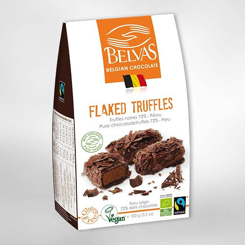 Organic & gluten free & vegan & fairtrade Belgian Choc Flaked truffles
