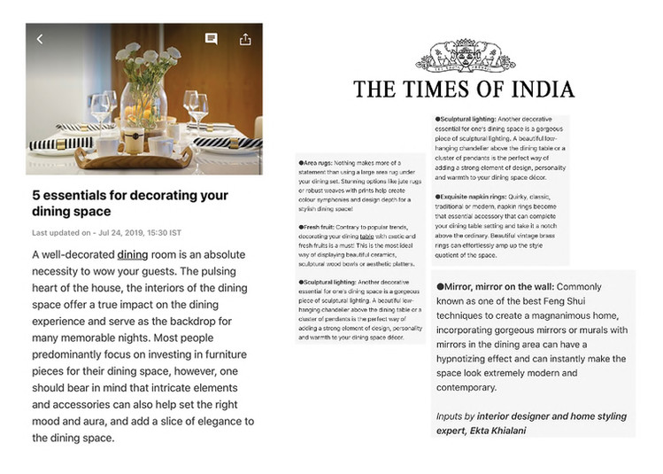 Times of India - 5 Essentials for decorating your dining space