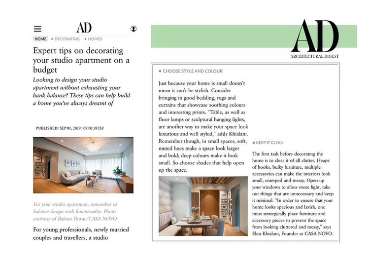 Architectural Digest - Expert Tips on styling your studio apartment
