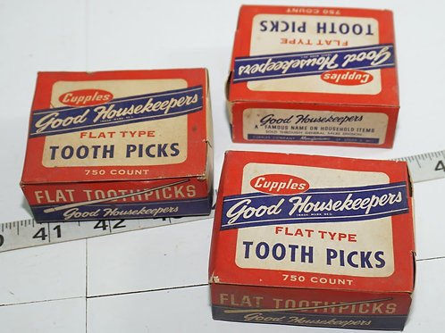 3 Vintage Tooth Picks Boxes