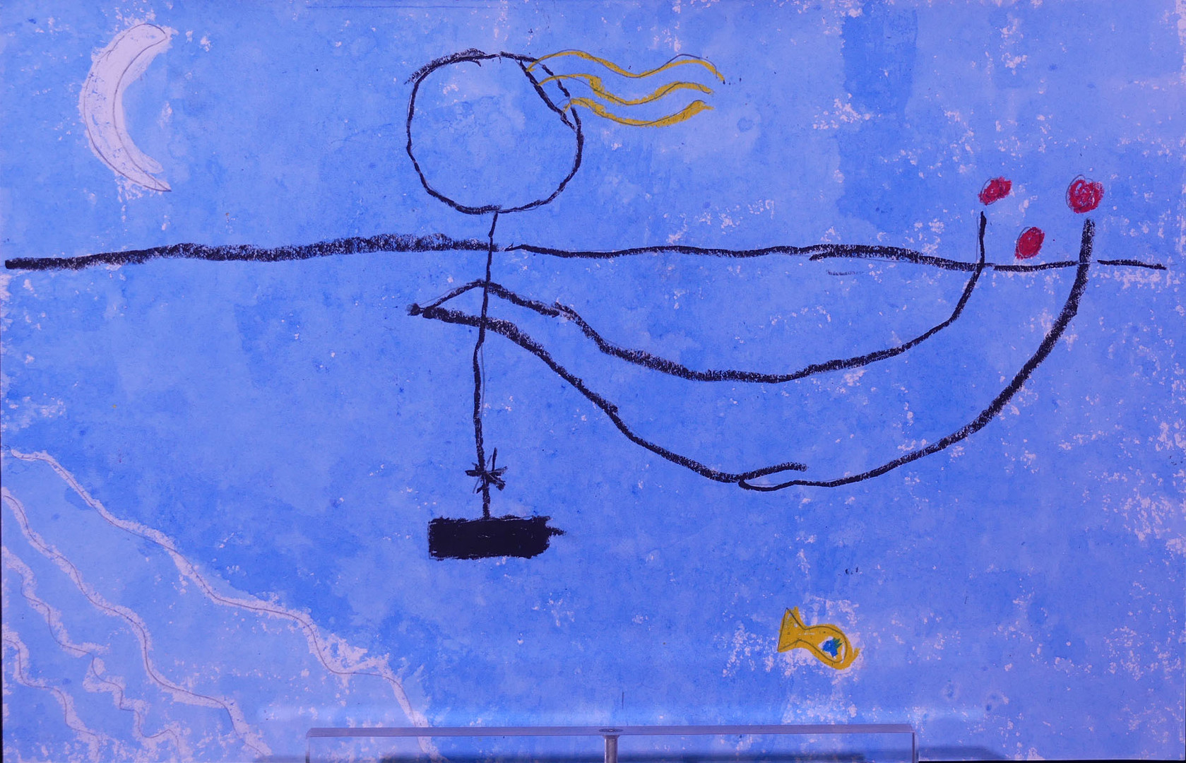 VARIATIONS D'APRÈS LA BAIGNEUSE DE MIRO, pastel gras et encre - École élémentaire de la plage, Saint Jean de Monts, CE1/CE2
