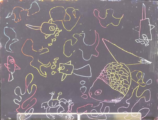 CARTES À GRATTER D'APRÈS PAUL KLEE, pastels à l'huile, encre acrylique - École privée Les Roseaux, Soullans, CE2