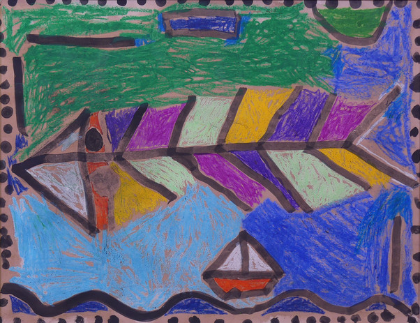 POISSONS D'APRÈS PAUL KLEE, encre de Chine, pastels gras, brou de noix - École élémentaire de la Plage, CP