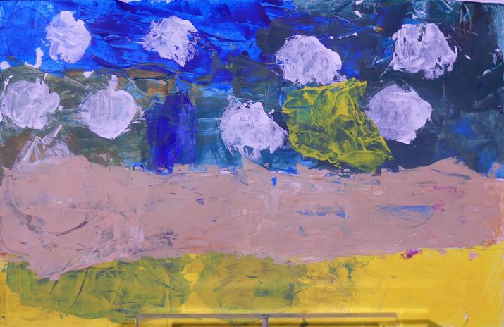 MARINES, peintures acrylique au couteau - École les Roseaux, Soullans - CE2