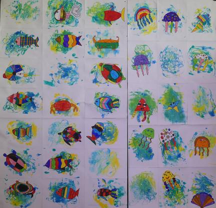DANS LE COURANT, encre, feutres couleur, collage - École élémentaire la Transition, Saint-Jean-de-Monts, CE1