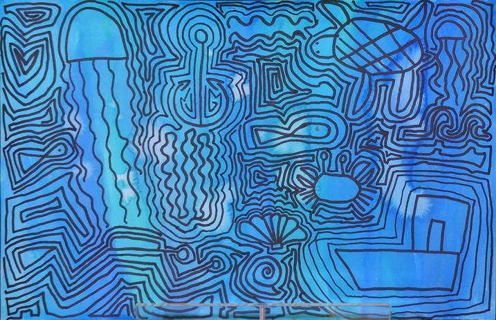 GRAPHISMES ET SYMBOLES D'APRÈS KEITH HARING, marqueur noir, encre - École élémentaire de la Plage, Saint-Jean-de-Monts, CE2