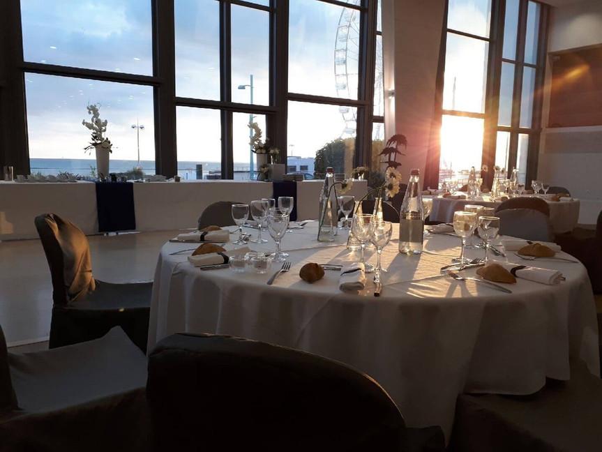 photo mouettes dîner gala coucher soleil