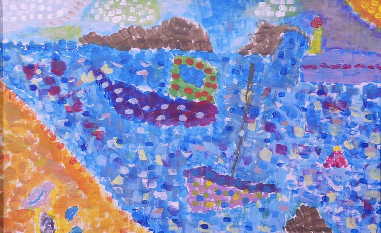 LES IMPRESSIONNISTES ET L'OCÉAN, peinture acrylique - École élémentaire de la Plage, Saint-Jean-de-Monts, CM1