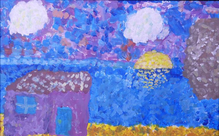 LES IMPRESSIONNISTES ET L'OCÉAN, peinture acrylique - École élémentaires de la Plage, Saint-Jean-de-Monts, CM1