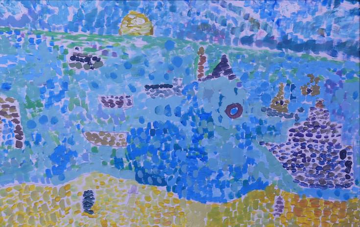 LES IMPRESSIONNISTES ET L'OCÉAN, peinture acrylique - École élémentaires de la Plage, Saint-Jean-de-Monts, CE1/CE2