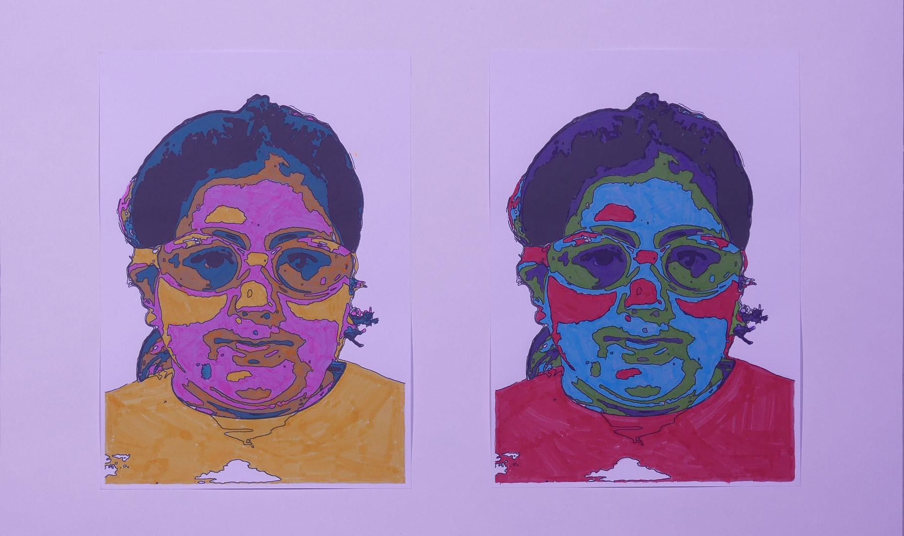 WARHOL EN PLONGÉE, photos coloriées aux feutres - École Les Embruns, Notre-Dame-de-Monts, CP/CE2