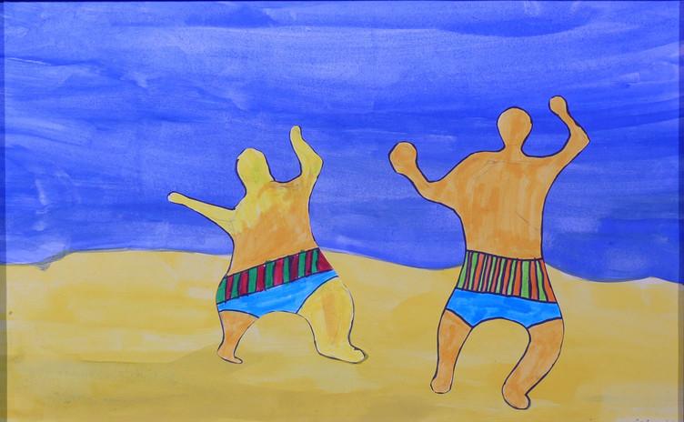 """Pour composer ces scènes de jeux, les enfants ont adopté le style de Niki de Saint Phalle : """"J'aime le rond, les courbes, l'ondulation, le monde est rond, le monde est un sein. Je n'aime pas l'angle droit, il me fait peur"""". Ils ont cherché des attitudes de personnages en mouvement, utilisé des couleurs vives et des motifs ornementaux."""