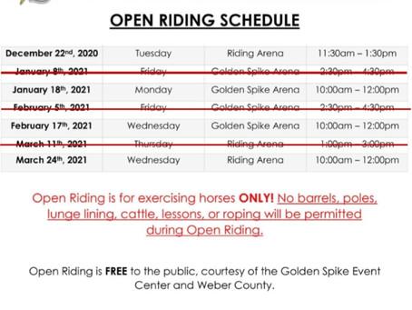 Winter Open Riding Schedule