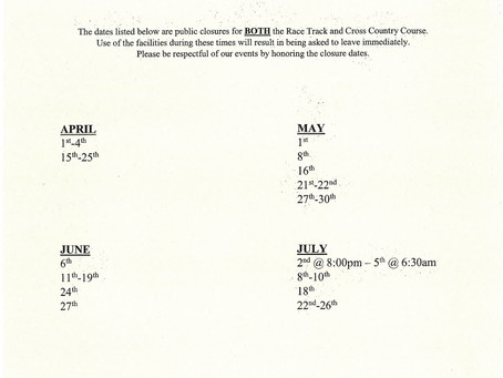 Race Track & Cross Country Course Closure Schedule