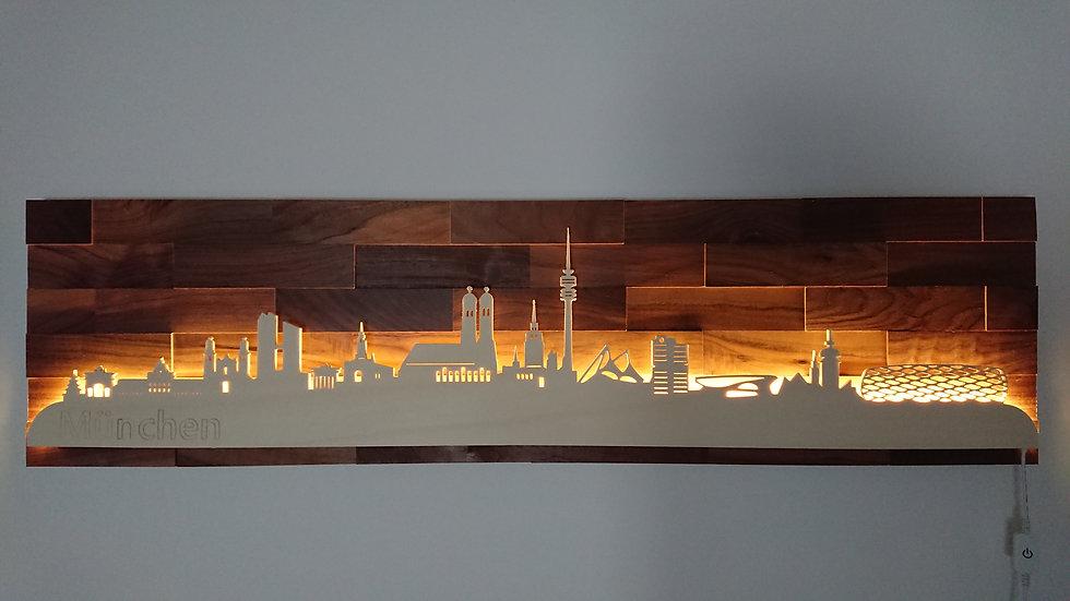 """Skyline aus Holz - """"München"""" - Nussbaum - Warmweiß LED Beleuchtung"""