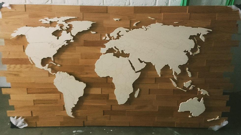 Weltkarte aus Holz mit Ländergrenzen Bausatz 1800mm x 1000mm