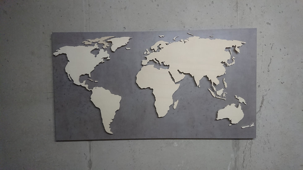 "Weltkarte aus Holz - ""Beton Optik"" - LED RGB Beleuchtung"