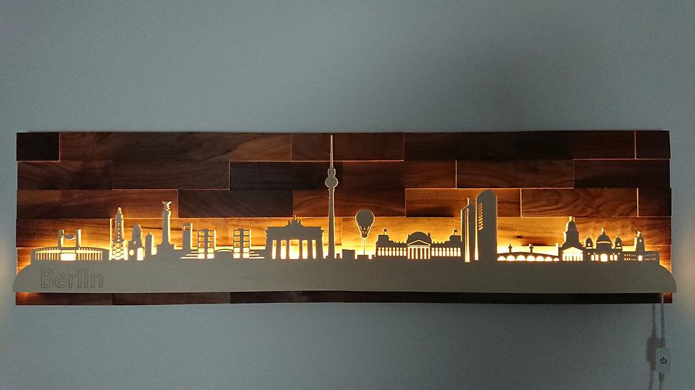 """Skyline aus Holz - """"Berlin"""" - Nussbaum - Warmweiß LED Beleuchtung"""