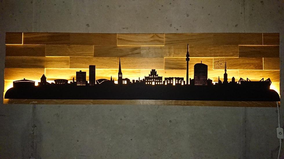 """Skyline aus Holz - """"Dortmund"""" - Eiche Schwarz - Warmweiß LED Beleuchtung"""