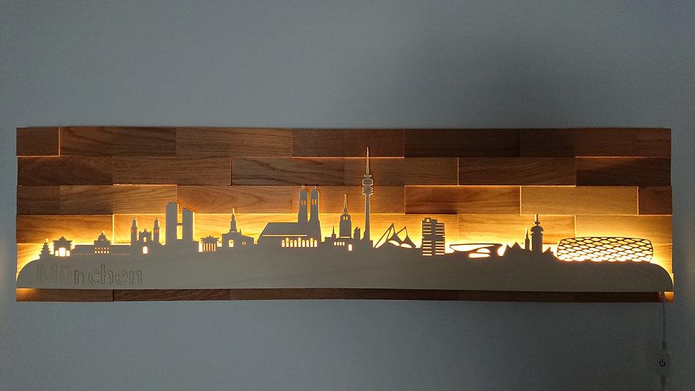 """Skyline aus Holz - """"München"""" - Eiche - Warmweiß LED Beleuchtung"""