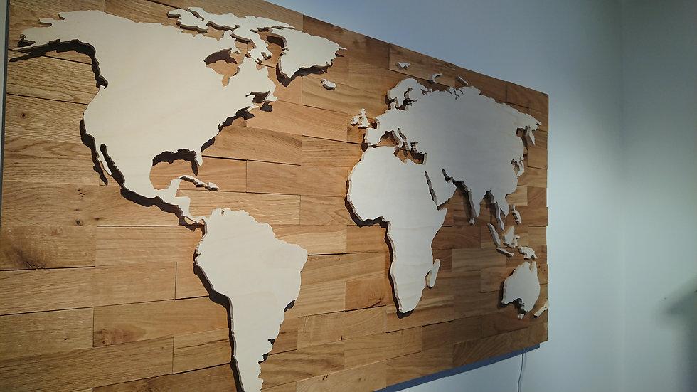 Weltkarte aus Holz Bausatz 1200mm x 650mm