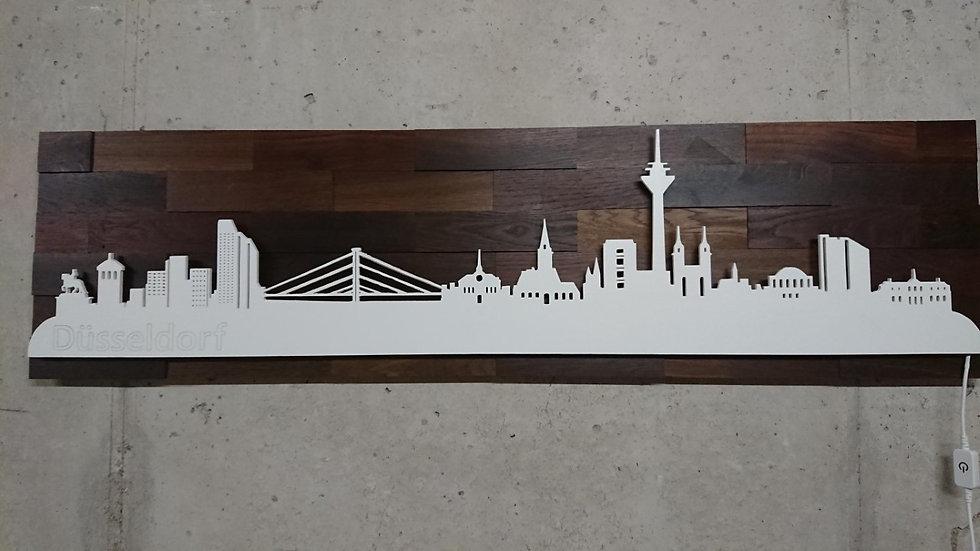 "Skyline aus Holz - ""Düsseldorf"" - Eiche Tabak Weiß - Warmweiß LED Beleuchtu"