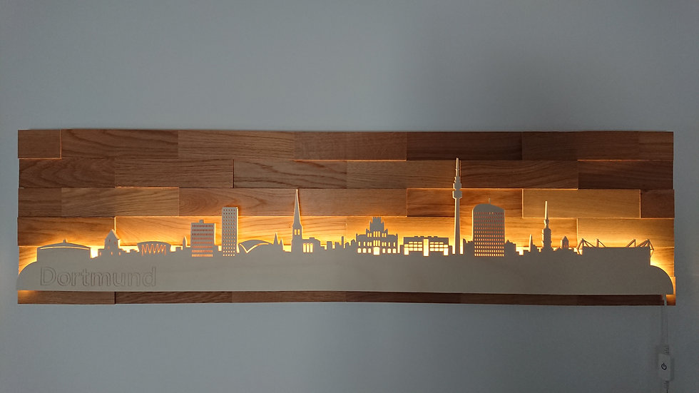 """Skyline aus Holz - """"Dortmund"""" - Eiche - Warmweiß LED Beleuchtung"""