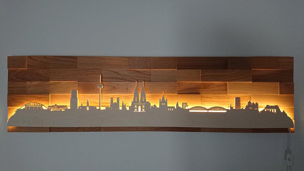 "Skyline aus Holz - ""Köln"" - Eiche - Warmweiß LED Beleuchtung"