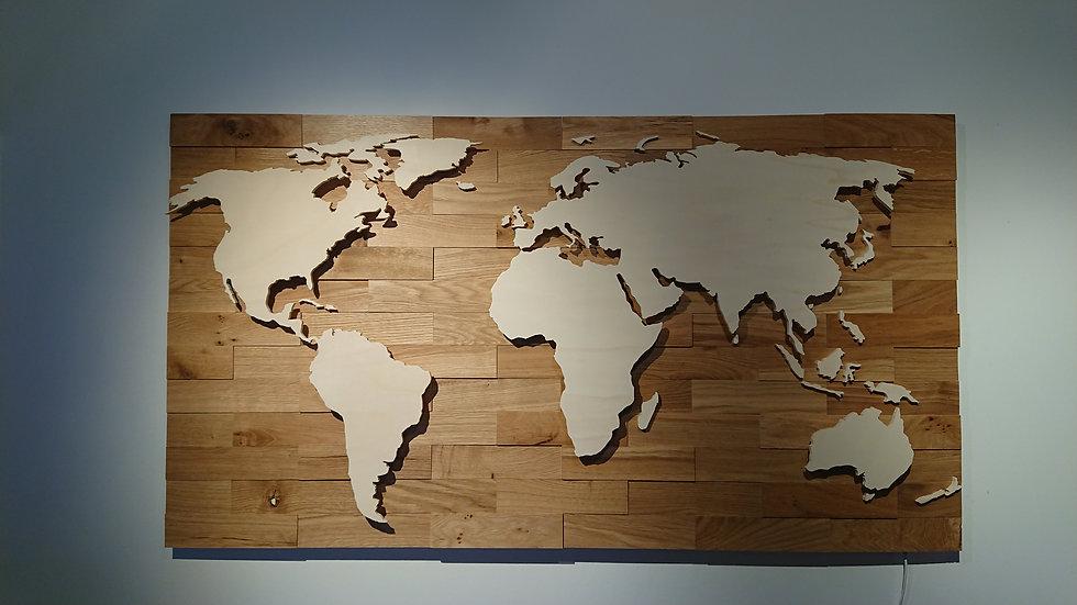 "Weltkarte aus Holz - ""Eiche Rustikal"" - LED RGB Beleuchtung"