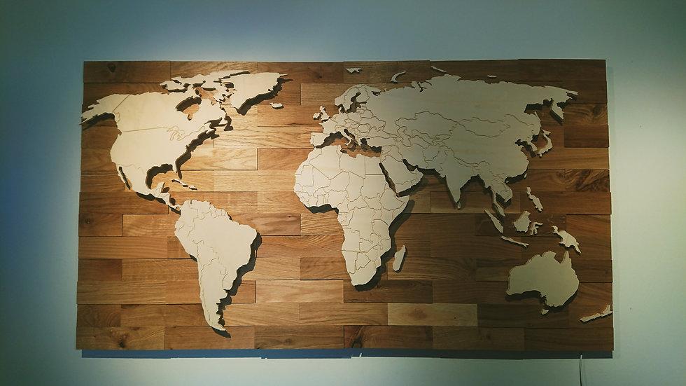 Weltkarte aus Holz mit Ländergrenzen Bausatz 1200mm x 650mm