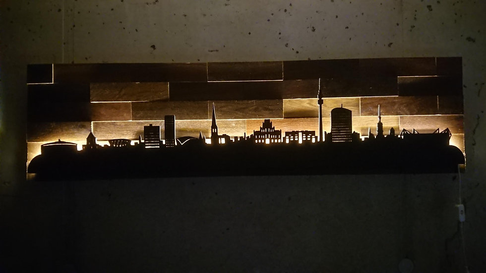 """Skyline aus Holz - """"Dortmund"""" - Eiche Tabak Schwarz - Warmweiß LED Beleuchtung"""